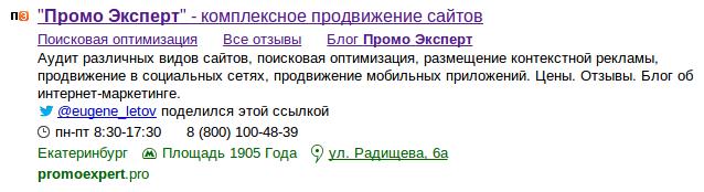 Сниппет ПромоЭксперт в поисковой выдаче Яндекса
