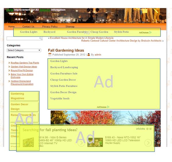 На этом примере реклама закрывает контент и похожа на навигацию
