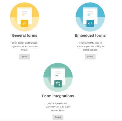 Выберите Embedded forms или Form Integrations.