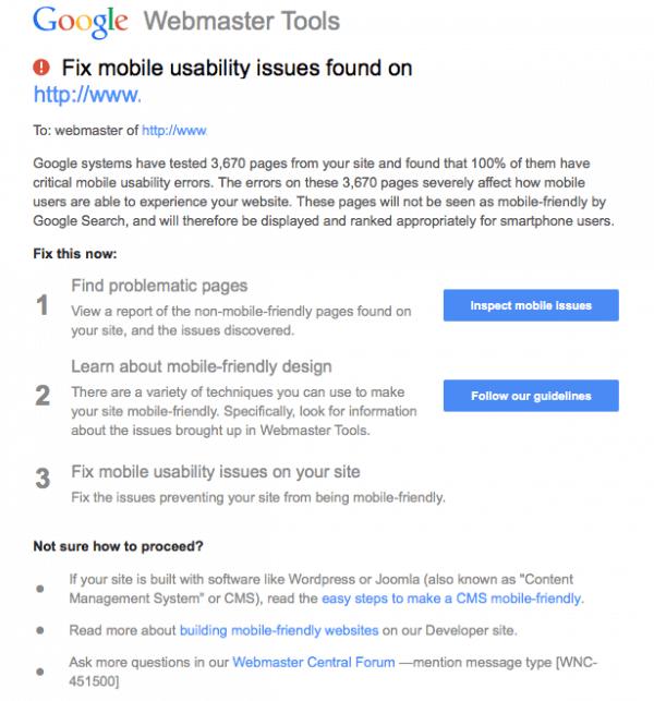 Письмо от Google о недостатках мобильного юзабилити.