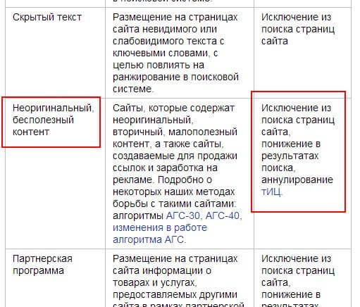 Санкции Яндекса за плохой контент
